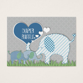 Diaper Raffle Registry Elephant Twins Baby Shower Business Card