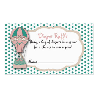 Diaper Raffle Ticket, Baby shower Hot air Balloon Pack Of Standard Business Cards