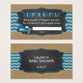 Diaper Raffle Ticket, boy baby shower airplane Business Card