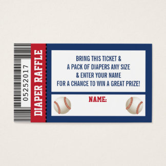 Diaper Raffle Ticket, Sports, Baseball Baby Shower Business Card