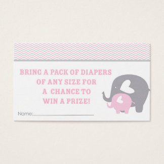 Diaper Raffle Tickets Pink and Grey Elephants