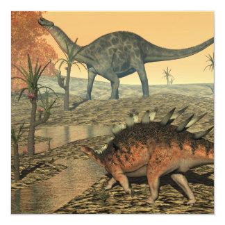 Dicaeosaurus and kentrosaurus dinosaurs card