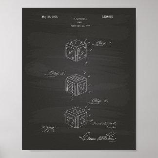 Dice 1925 Patent Art Chalkboard Poster