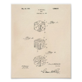 Dice 1925 Patent Art Old Peper Poster