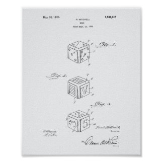Dice 1925 Patent Art White Paper Poster