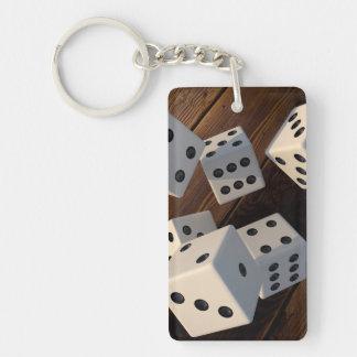 Dice 3D wood Key Ring