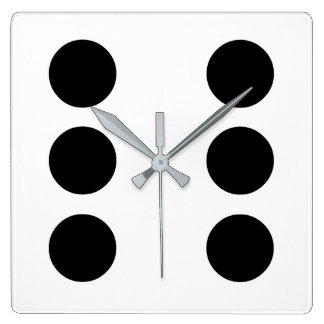 Dice 6 square wall clock