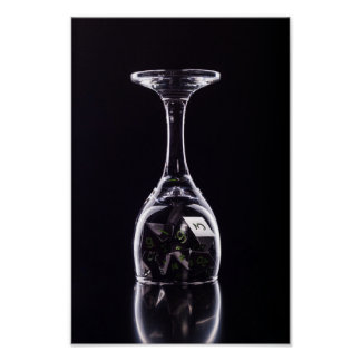 Dice in Glass poster (Black2) photopaper