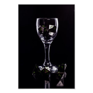 Dice in Glass poster (Black) photopaper