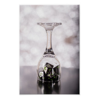 Dice in Glass poster (Silver2) photopaper