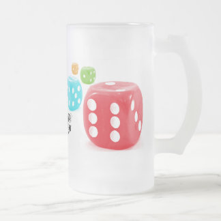 Dice King Frosted Glass Beer Mug