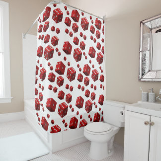Dice red shower curtain