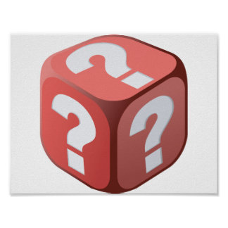 Dice With Question Marks Poster