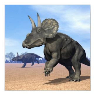 Diceratops/nedoceratops dinosaurs in the desert card