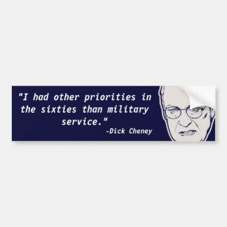 Dick Cheney Chickenhawk Quote Bumper Stickers