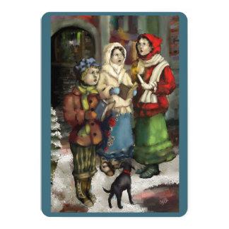 Dickensian Christmas Carolers Painting Flat Card