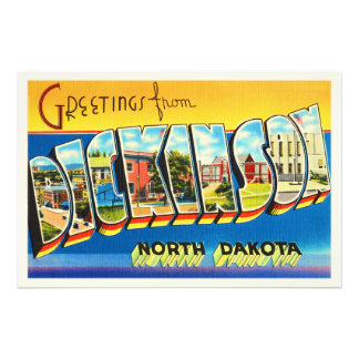 Dickinson North Dakota ND Vintage Travel Souvenir Photo Print