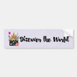 Dicover The World Camera with European Landmarks Bumper Sticker