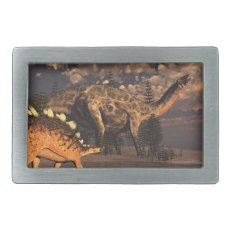 Dicraeosaurus and kentrosaurus dinosaurs - 3D rend Belt Buckles