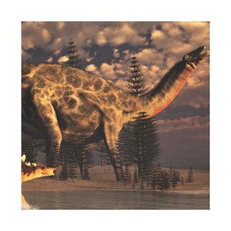 Dicraeosaurus and kentrosaurus dinosaurs - 3D rend Canvas Print
