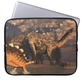 Dicraeosaurus and kentrosaurus dinosaurs - 3D rend Laptop Sleeve