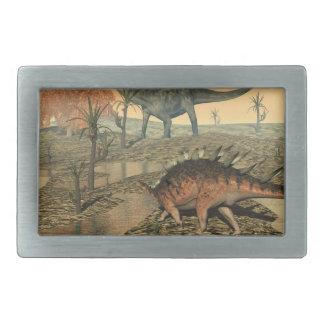Dicraeosaurus and kentrosaurus dinosaurs belt buckles