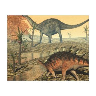 Dicraeosaurus and kentrosaurus dinosaurs canvas print