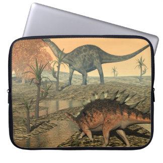 Dicraeosaurus and kentrosaurus dinosaurs laptop sleeve