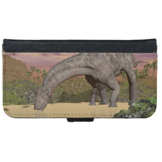 Dicraeosaurus dinosaur drinking - 3D render iPhone 6 Wallet Case