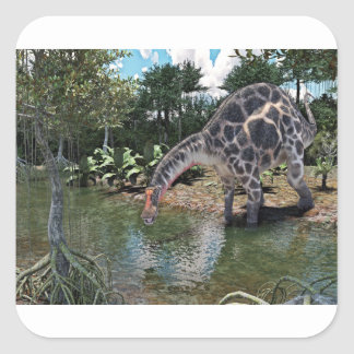 Dicraeosaurus Dinosaur Feeding on a River Square Sticker