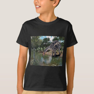 Dicraeosaurus Dinosaur Feeding on a River T-Shirt