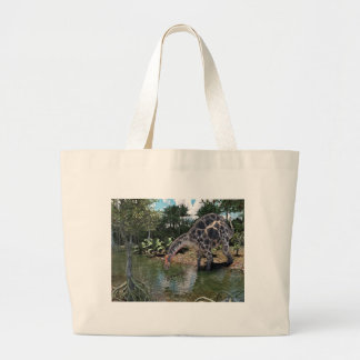 Dicraeosaurus Dinosaur Jungle Scene Large Tote Bag