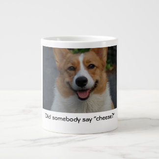 """Did somebody say cheese?"" smiling corgi photo mug"
