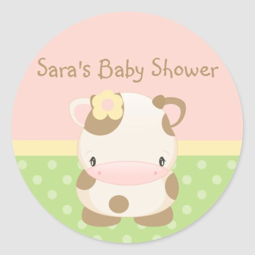 Diddles Farm Moo-Cow Baby Shower-Envelope Seal Sticker