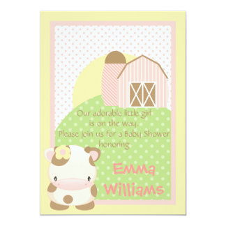 Diddles Farm Moo-Cow Baby Shower Invitation