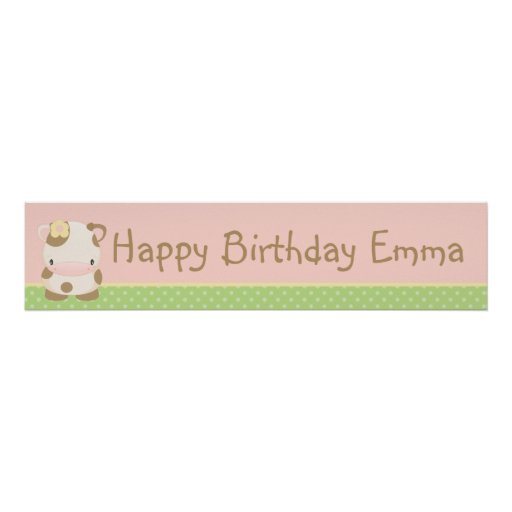 Diddles Farm Moo-Cow Birthday Banner Poster