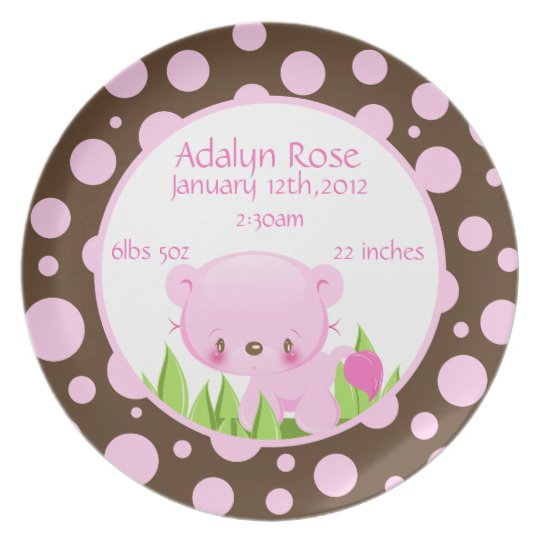 Diddles Lion Birth Plate Pink