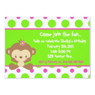 Diddles Monkey Girl 5x7 Birthday Invitation