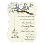 Die Cut Birds Yellow & Purple Blooms Wedding Personalized Announcement