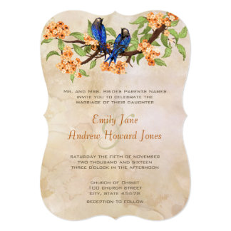 Die Cut Coral Navy Vintage Love Bird Tea Stain Personalized Invites