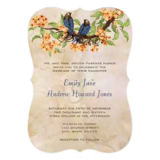 Die Cut Coral Navy Vintage Love Birds Tea Stain Personalized Announcements