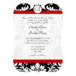 Die Cut Damask Red Trim Wedding Invitation