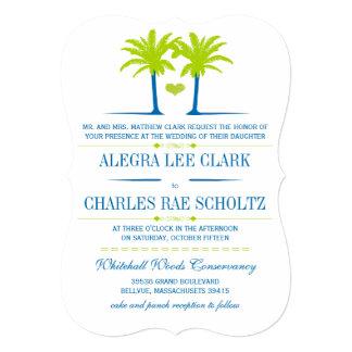 Die Cut Lime Royal Blue Beach Typography Invite