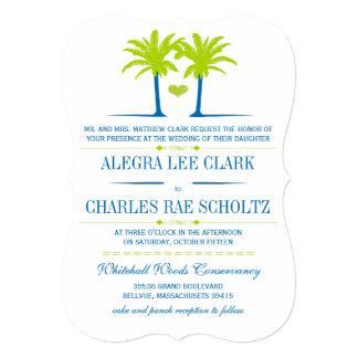"Die Cut Lime Royal Blue Beach Typography Invite 5"" X 7"" Invitation Card"