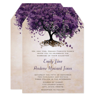 Die Cut Peach Purple HeartLeaf Tree Wedding Invite
