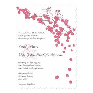 Die Cut Pink Cherry Blossom Chickadee Pink Wedding Card