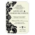 Die Cut Vintage Black Damask Wedding Personalised Invites