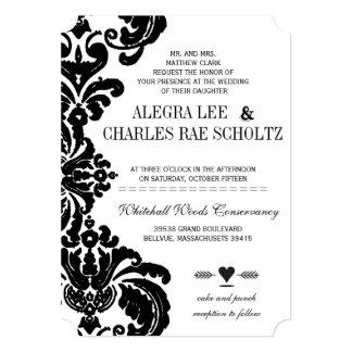 Die Cut Vintage Black Damask Wedding Personalized Announcement