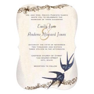 Die Cut Vintage Love Birds Navy Wedding Card