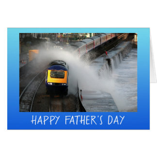 Diesel engine and waves Father's Day personalized Card